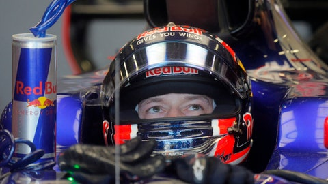 Red Bull Formula One driver Max Verstappen of Netherlands in his car in the pit lane during the first practice session at the F1 Grand Prix circuit in Baku, Azerbaijan, Friday, June 23, 2017. The Formula One Grand Prix of Europe will be held on Sunday. (AP Photo/Efrem Lukatsky)