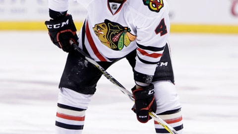 Chicago Blackhawks defenseman Niklas Hjalmarsson (4) in the first period during an NHL hockey game against the Arizona Coyotes, Thursday, Feb. 2, 2017, in Glendale, Ariz. (AP Photo/Rick Scuteri)