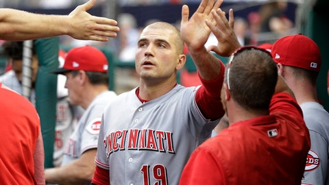 Cincinnati Reds' Joey Votto (19) celebrates with teammates in the dugout after scoring during the first inning of a baseball game against the Washington Nationals, Friday, June 23, 2017, in Washington. (AP Photo/Mark Tenally)
