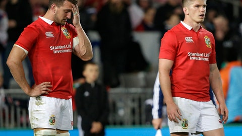 British and Irish Lions Sam Warburton and Owen Farrell wait behind there try line after an All Black try during the first test between the British and Irish Lions and the All Blacks at Eden Park in Auckland, New Zealand, Saturday, June 24, 2017. (AP Photo/Mark Baker)