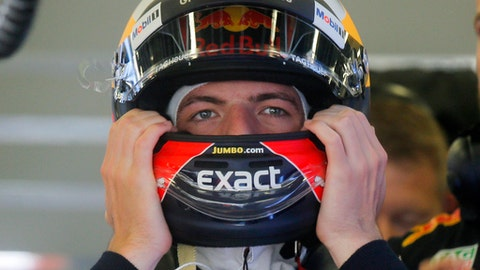 Red Bull driver Max Verstappen of the Netherlands prepares for the third practice session at the F1 Grand Prix circuit in Baku, Azerbaijan, Saturday, June 24, 2017. The Formula One Grand Prix of Europe will be held on Sunday. (AP Photo/Efrem Lukatsky)