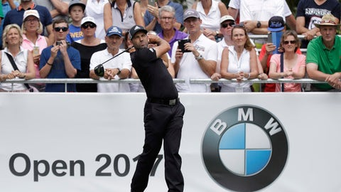 Sergio Garcia of Spain tees off during the third round of the German Open golf tournament in Eichenried near Munich, Germany, Saturday, June 24, 2017. (AP Photo/Matthias Schrader)