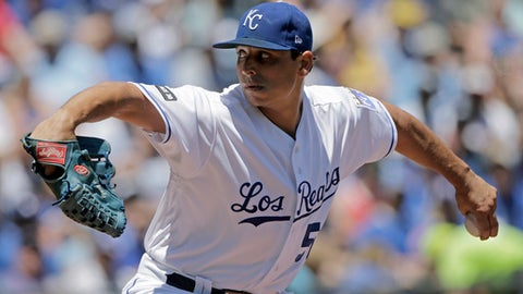 Kansas City Royals starting pitcher Jason Vargas throws during the first inning of a baseball game against the Toronto Blue Jays Saturday, June 24, 2017, in Kansas City, Mo. (AP Photo/Charlie Riedel)