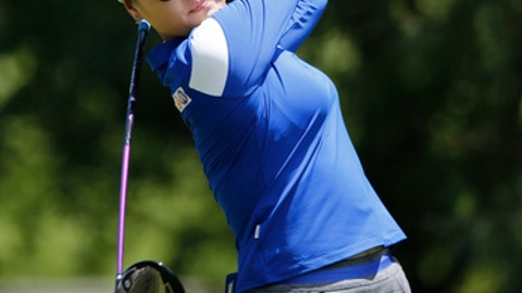 So Yeon Ryu, of South Korea, watches her tee shot on the ninth hole during the first round of the Kingsmill Championship LPGA golf tournament in Williamsburg, Va., Thursday, May 18, 2017. (AP Photo/Steve Helber)