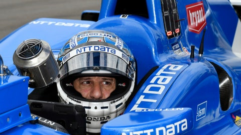 FILE - In this June 9, 2017, file photo, Tony Kanaan, of Brazil, sits in his car on pit road during an IndyCar auto race practice session at Texas Motor Speedway in Fort Worth, Texas. Kanaan feels like a veteran again this weekend at Road America. (AP Photo/Larry Papke, File)
