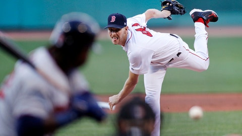 Boston Red Sox starting pitcher Chris Sale delivers during the first inning of a baseball game against the Minnesota Twins at Fenway Park in Boston, Monday, June 26, 2017. (AP Photo/Charles Krupa)