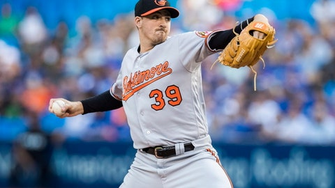 Baltimore Orioles pitcher Kevin Gausman works against the Toronto Blue Jays during the first inning of MLB baseball action in Toronto, Tuesday, June 27, 2017. (Mark Blinch/The Canadian Press via AP)