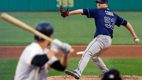 Tampa Bay Rays starting pitcher Alex Cobb winds up during the fifth inning of the team's baseball game against the Pittsburgh Pirates in Pittsburgh, Tuesday, June 27, 2017. (AP Photo/Gene J. Puskar)