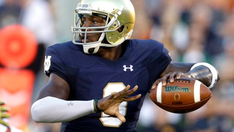 FILE- This Sept. 5, 2015 file photo shows Notre Dame quarterback Malik Zaire looking to a pass during the first half of an NCAA college football game against Texas in South Bend, Ind. Florida might have solved its long-running quarterback problem with the addition of Notre Dame transfer Malik Zaire. That move became official last week and as a graduate transfer Zaire will be immediately eligible. (AP Photo/Nam Y. Huh, file)