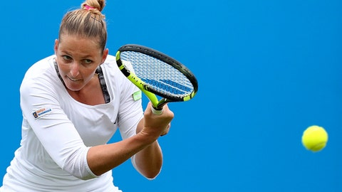 Czech Republic's Kristyna Pliskova plays a return to  Germany's Angelique Kerber during  the AEGON International tennis tournament at Devonshire Park, Eastbourne, England, Wednesday June 28, 2017. (Gareth Fuller/PA via AP)