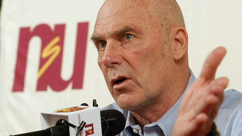 FILE - In this Feb. 27, 2010, file photo, Northern State coach Don Meyer addresses the media after an NCAA college basketball game in Aberdeen, S.D., where he announced he would be retiring. Meyer was one of the winningest coaches in college basketball history, is being inducted into the Small College Basketball Hall of Fame on Nov. 2, 2017, in Evansville, Ind. Meyer died of cancer in 2014. (AP Photo/Doug Dreyer, File)