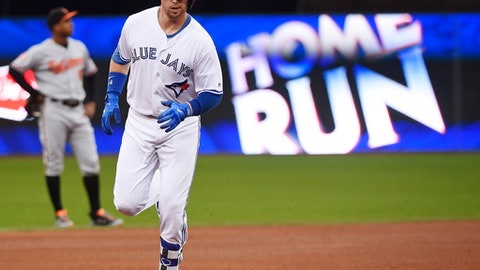 Toronto Blue Jays' Justin Smoak rounds the bases after hitting a solo home run against the Baltimore Orioles during the fourth inning of a baseball game in Toronto on Wednesday, June 28, 2017. (Nathan Denette/The Canadian Press via AP)