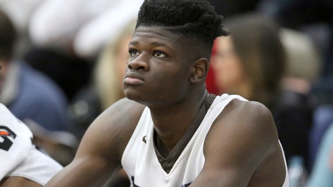 Westtown School's Mo Bamba #11 is seen on the bench against Hillcrest Prep during a high school basketball game at the 2017 Hoophall Classic on Saturday, January 14,, 2017, in Springfield, MA.. (AP Photo/Gregory Payan)
