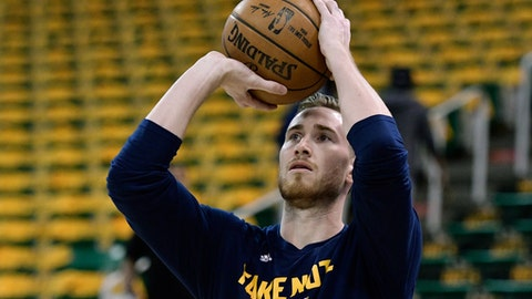 SALT LAKE CITY, UT - MAY 8: Gordon Hayward #20 of the Utah Jazz practices prior to their game against the Golden State Warriors in Game Four of the Western Conference Semifinals during the 2017 NBA Playoffs at Vivint Smart Home Arena on May 8, 2017 in Salt Lake City, Utah. NOTE TO USER: User expressly acknowledges and agrees that, by downloading and or using this photograph, User is consenting to the terms and conditions of the Getty Images License Agreement. (Photo by Gene Sweeney Jr/Getty Images)