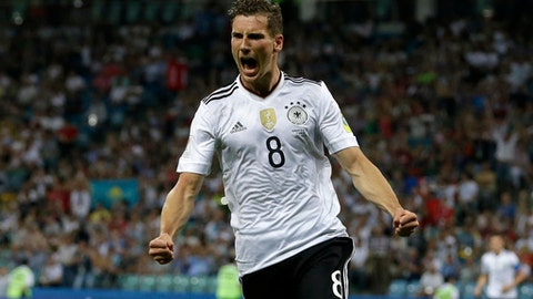 Germany's Leon Goretzka celebrates after scoring his side's second goal during the Confederations Cup, semifinal soccer match between Germany and Mexico, at the Fisht Stadium in Sochi, Russia, Thursday, June 29, 2017. (AP Photo/Thanassis Stavrakis)
