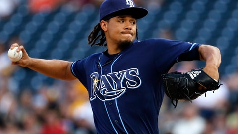 Tampa Bay Rays starting pitcher Chris Archer delivers during the first inning of the team's baseball game against the Pittsburgh Pirates in Pittsburgh, Thursday, June 29, 2017. (AP Photo/Gene J. Puskar)