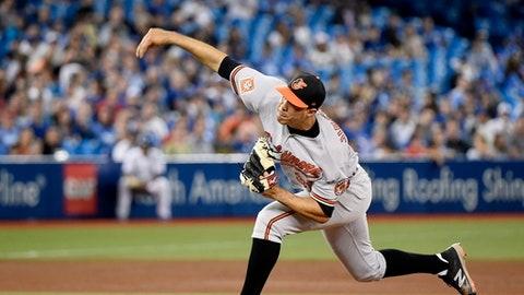 Baltimore Orioles starting pitcher Ubaldo Jimenez throws to the Toronto Blue Jays during the seventh inning of a baseball game Thursday, June 29, 2017, in Toronto. (Nathan Denette/The Canadian Press via AP)