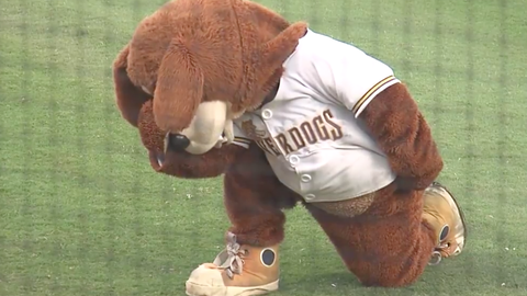 The mascot also tried to revive the Tebowing phenomenon on the field.