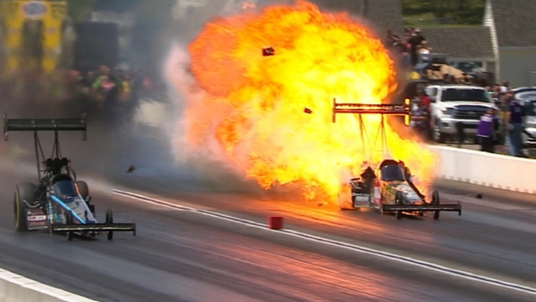 Terry McMillen's Engine Explodes in Top Fuel Round 1 | 2017