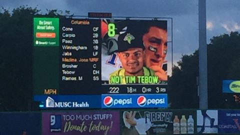 "On the RiverDogs' scoreboard, each player was introduced with the caption ""Not Tim Tebow."""