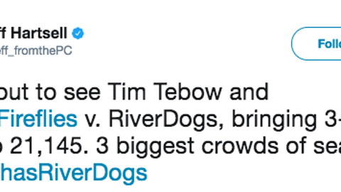 Tebow's presence, however, was a huge boon to the RiverDogs' attendance.