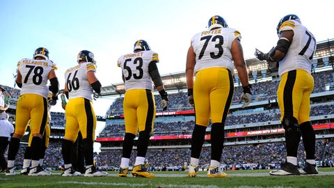 Sep 25, 2016; Philadelphia, PA, USA; Pittsburgh Steelers tackle Alejandro Villanueva (78), guard David DeCastro (66), center Maurkice Pouncey (53), guard Ramon Foster (73) and tackle Marcus Gilbert (77) wait on the sidelines against the Philadelphia Eagles at Lincoln Financial Field. The Eagles defeated the Steelers, 34-3. Mandatory Credit: Eric Hartline-USA TODAY Sports