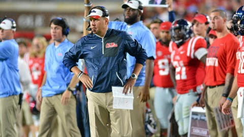 Oct 1, 2016; Oxford, MS, USA;  Mississippi Rebels head coach Hugh Freeze looks onto the field during the second quarter of the game against the Memphis Tigers at Vaught-Hemingway Stadium. Mandatory Credit: Matt Bush-USA TODAY Sports