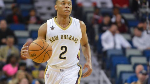 Nov 14, 2016; New Orleans, LA, USA;  New Orleans Pelicans guard Tim Frazier (2) moves the ball down the court during the game against the Boston Celtics at the Smoothie King Center. Mandatory Credit: Matt Bush-USA TODAY Sports