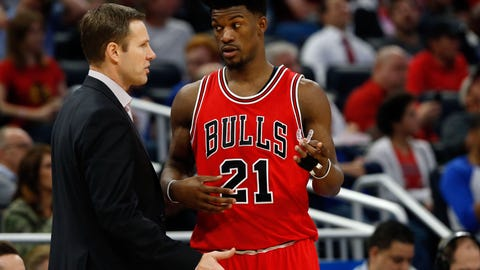 Jan 24, 2017; Orlando, FL, USA; Chicago Bulls head coach Fred Hoiberg talks with forward Jimmy Butler (21) against the Orlando Magic during the second quarter at Amway Center. Mandatory Credit: Kim Klement-USA TODAY Sports