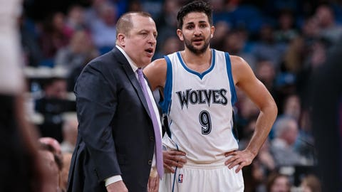 Mar 8, 2017; Minneapolis, MN, USA; Minnesota Timberwolves head coach Tom Thibodeau talks to guard Ricky Rubio (9) in the third quarter against the Los Angeles Clippers  at Target Center. The Minnesota Timberwolves beat the Los Angeles Clippers 107-91. Mandatory Credit: Brad Rempel-USA TODAY Sports