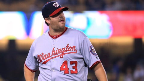 LOS ANGELES, CA - JUNE 05:  Matt Albers #43 of the Washington Nationals reacts as he leaves the game with two base runners during the ninth inning against the Los Angeles Dodgers at Dodger Stadium on June 5, 2017 in Los Angeles, California.  (Photo by Harry How/Getty Images)