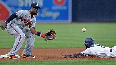 Jun 29, 2017; San Diego, CA, USA; Atlanta Braves second baseman Brandon Phillips (left) gets the throw before tagging out San Diego Padres center fielder Manuel Margot (7) on a steal attempt at second base during the fifth inning at Petco Park. Mandatory Credit: Jake Roth-USA TODAY Sports