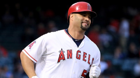 ANAHEIM, CA - MAY 30:  Albert Pujols #5 of the Los Angeles Angels reacts as he singles during the first inning against the Atlanta Braves at Angel Stadium of Anaheim on May 30, 2017 in Anaheim, California.  Pujols needs two homeruns for 600 in his career.  (Photo by Harry How/Getty Images)