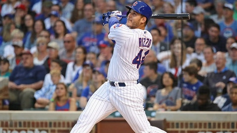 CHICAGO, IL - JUNE 19:  Anthony Rizzo #44 of the Chicago Cubs bats against the San Diego Padres at Wrigley Field on June 19, 2017 in Chicago, Illinois. The Cubs defeated the Padres 3-2.  (Photo by Jonathan Daniel/Getty Images)