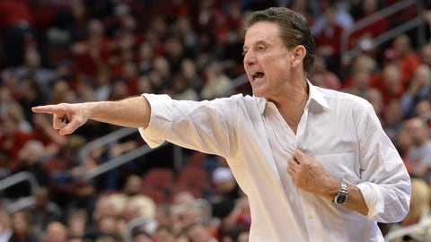 Louisville coach Rick Pitino shouts instructions to his team during the second half of an NCAA college basketball game against Pittsburgh, Wednesday, Jan. 11, 2017, in Louisville, Ky. Louisville won 85-80. (AP Photo/Timothy D. Easley)