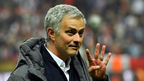 United manager Jose Mourinho gestures after winning the soccer Europa League final between Ajax Amsterdam and Manchester United at the Friends Arena in Stockholm, Sweden, Wednesday, May 24, 2017. United won 2-0. (AP Photo/Martin Meissner)