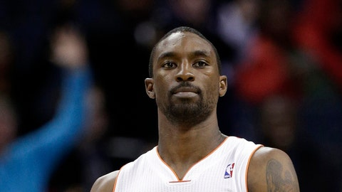 Charlotte Bobcats' Ben Gordon reacts after a basket against the Washington Wizards during the second half of an NBA basketball game in Charlotte, N.C., Monday, March 18, 2013. The Bobcats won 119-114. (AP Photo/Chuck Burton)