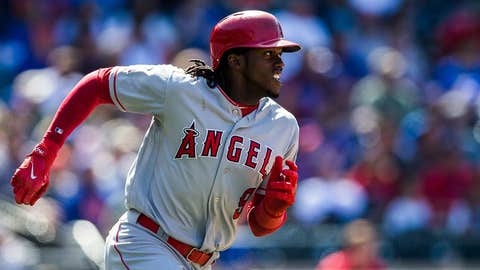 """NEW YORK - MAY 21:  Cameron Maybin #9 of the Los Angeles Angels runs the bases during the game New York Mets at Citi Field on May 21, 2017 in the Queens borough of New York City. (Photo by Rob Tringali/SportsChrome/Getty Images) """"n"""