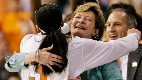"""FILE - In this April 8, 2008, file photo, Tennessee coach Pat Summitt gets a hug from Candace Parker (3) after Tennessee beat Stanford 64-48 in the championship game at the Final Four in the NCAA women's basketball tournament in Tampa, Fla. Summitt, the winningest coach in Division I college basketball history who uplifted the women's game from obscurity to national prominence during her career at Tennessee, died Tuesday morning, June 28, 2016. She was 64. """"She's touched so many lives in the game of basketball and has grown the game,"""" Parker said. """"She's changed the way women's basketball is played. She's changed the nature of women's basketball. She changed the way I looked at life. She's not a person that just talks the talk, she walks the walk as well.""""  (AP Photo/Gerry Broome, File)"""