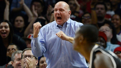 LOS ANGELES, CA - OCTOBER 31: Steve Ballmer, owner of the Los Angeles Clippers, reacts during the basketball game between the Clippers and Sacramento Kings at Staples Center October 31, 2015, in Los Angeles, California. (Photo by Kevork S. Djansezian/Getty Images)