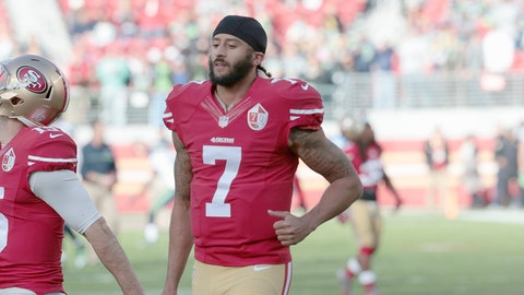 San Francisco 49ers quarterback Colin Kaepernick (7) during an NFL football game between the Seattle Seahawks and the San Francisco 49ers Sunday January 1. 2017 at the Levi Stadium San Francisco Ca. The Seattle Seahawks defeated the San Francisco 49ers 25-23 in game 17. (Bill Nichols Images via AP)