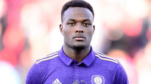 TORONTO, ON - MAY 03: Cyle Larin (9) of Orlando City SC reacts during the national anthems before the MLS Soccer regular season game between Toronto FC and Orlando City SC on May 3, 2017, at BMO Field in Toronto, ON, Canada. (Photograph by Julian Avram/Icon Sportswire via Getty Images)
