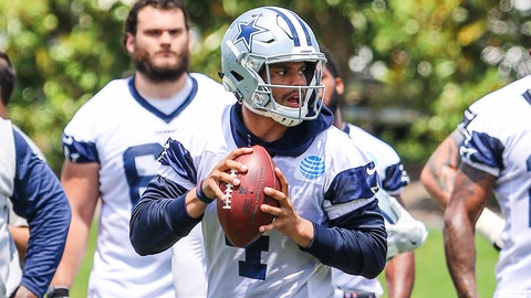 FRISCO, TX - MAY 31: Dallas Cowboys quarterback Dak Prescott (4) goes through workouts during the Dallas Cowboys OTA practice on May 31, 2017 at The Star in Frisco, Texas. (Photo by Matthew Pearce/Icon Sportswire)