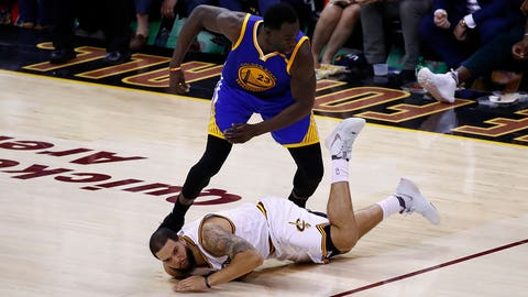 CLEVELAND, OH - JUNE 09: Kevin Durant #35 of the Golden State Warriors attempts to avoid Deron Williams #31 of the Cleveland Cavaliers as he lies on the floor in Game 4 of the 2017 NBA Finals at Quicken Loans Arena on June 9, 2017 in Cleveland, Ohio. NOTE TO USER: User expressly acknowledges and agrees that, by downloading and or using this photograph, User is consenting to the terms and conditions of the Getty Images License Agreement.  (Photo by Gregory Shamus/Getty Images)
