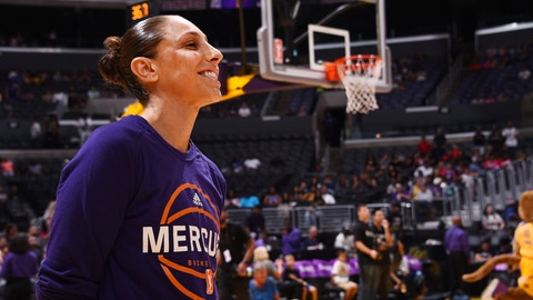 LOS ANGELES, CA - JUNE 18:  Diana Taurasi #3 of the Phoenix Mercury looks on before a game against the Los Angeles Sparks on June 18, 2017 at STAPLES Center in Los Angeles, California. NOTE TO USER: User expressly acknowledges and agrees that, by downloading and/or using this photograph, user is consenting to the terms and conditions of the Getty Images License Agreement. Mandatory Copyright Notice: Copyright 2017 NBAE (Photo by Juan Ocampo/NBAE via Getty Images)