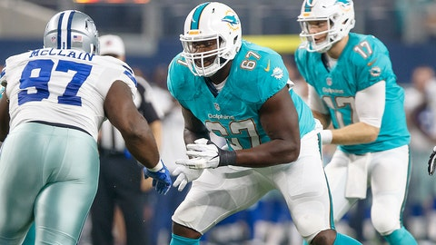 19 August 2016: Miami Dolphins offensive lineman Laremy Tunsil (#67) blocks Dallas Cowboys defensive tackle Terrell McClain (#97) during the NFL preseason game between the Dallas Cowboys and the Miami Dolphins at AT&T Stadium in Arlington, Texas.  (Photo by Matthew Visinsky/Icon Sportswire)