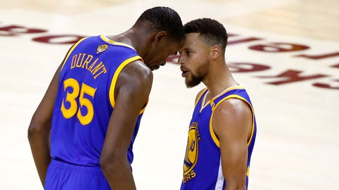 CLEVELAND, OH - JUNE 07:  Stephen Curry #30 and Kevin Durant #35 of the Golden State Warriors react late in the game against the Cleveland Cavaliers in Game 3 of the 2017 NBA Finals at Quicken Loans Arena on June 7, 2017 in Cleveland, Ohio. NOTE TO USER: User expressly acknowledges and agrees that, by downloading and or using this photograph, User is consenting to the terms and conditions of the Getty Images License Agreement.  (Photo by Gregory Shamus/Getty Images)