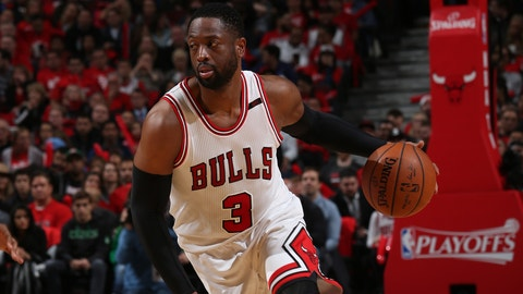 CHICAGO, IL - APRIL 28: Dwyane Wade #3 of the Chicago Bulls drives to the basket against the Boston Celtics in Game Six of the Eastern Conference Quartefinals of the 2017 NBA Playoffs on April 28, 2017 at the United Center in Chicago, Illinois. NOTE TO USER: User expressly acknowledges and agrees that, by downloading and or using this Photograph, user is consenting to the terms and conditions of the Getty Images License Agreement. Mandatory Copyright Notice: Copyright 2017 NBAE (Photo by Gary Dineen/NBAE via Getty Images)