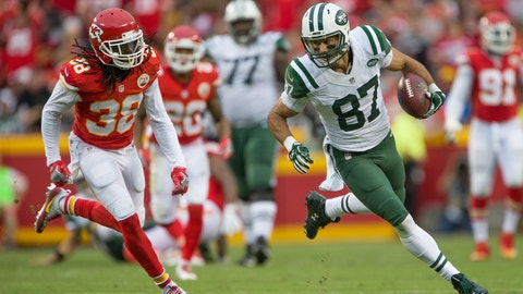 September 25, 2016: New York Jets wide receiver Eric Decker (87) during the NFL AFC game between the New York Jets and the Kansas City Chiefs at Arrowhead Stadium in Kansas City, Missouri. The Chiefs defeated the Jets 24-3 (Photo by William Purnell/Icon Sportswire via Getty Images)