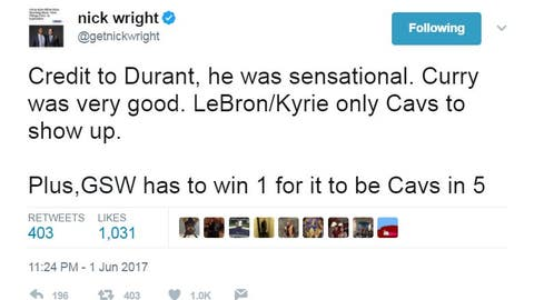 Nick wasn't backing down from his Cavs support after a Warriors win ...